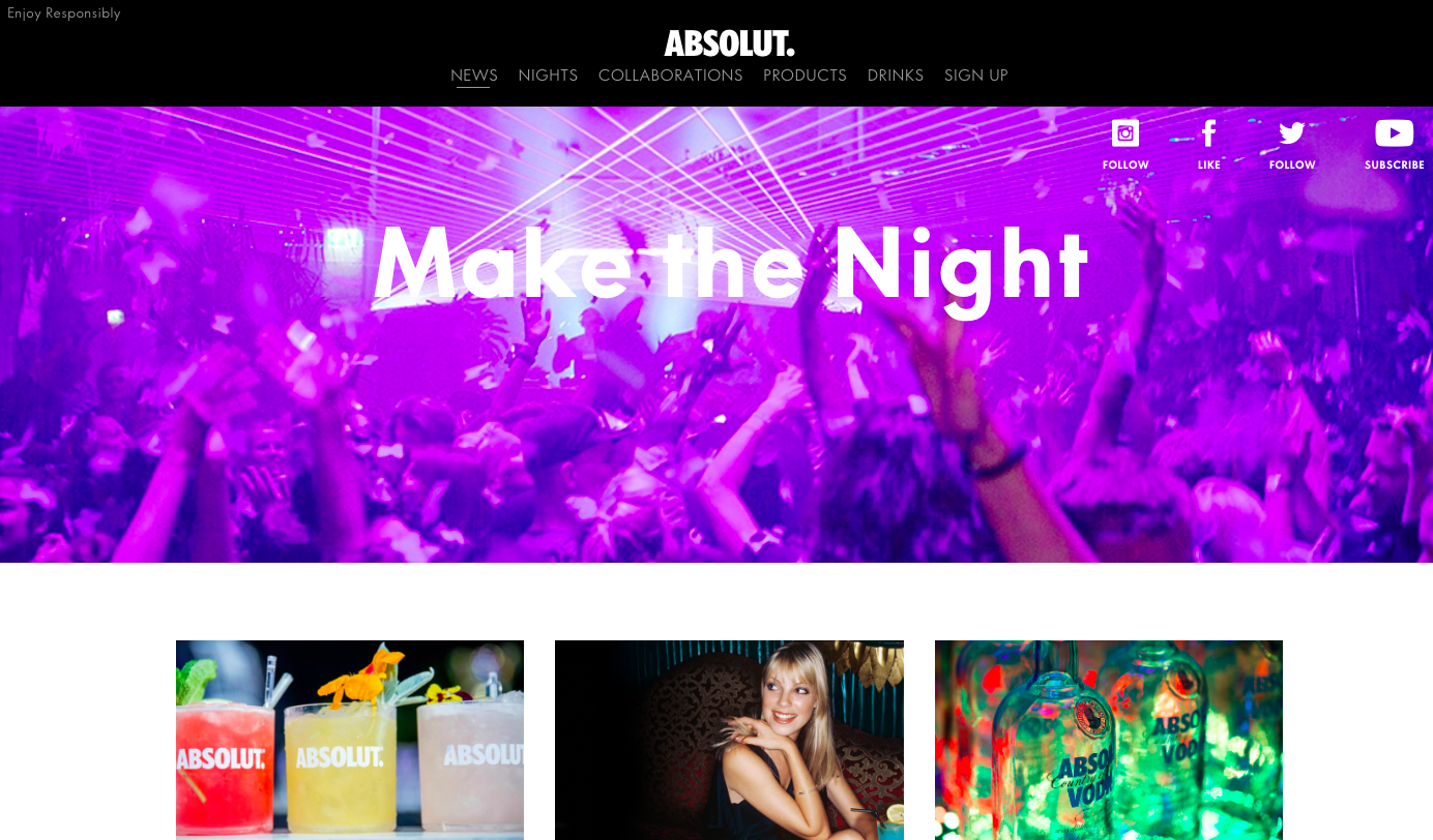 Absolut Vodka website